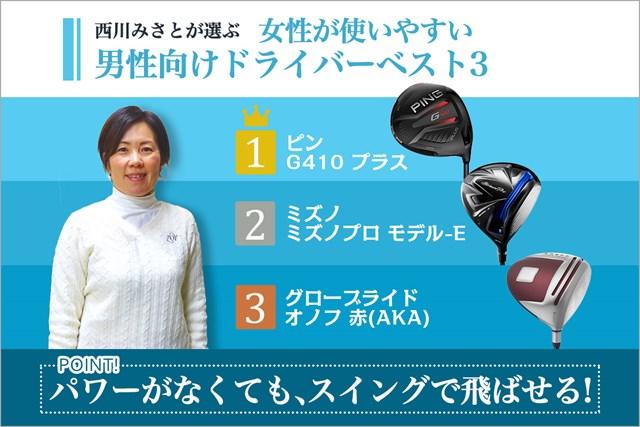 西川みさとさんが選んだ「女性が使いやすい男性向けドライバー」ベスト3