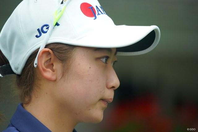 2019年 オーガスタナショナル女子アマチュア 最終日 安田祐香 ホールアウト後のインタビューでは、少し悔しさもにじみ出たか。
