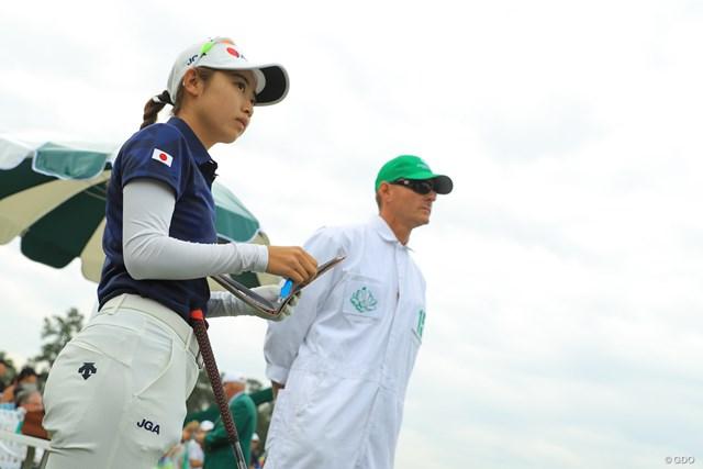 2019年 オーガスタナショナル女子アマチュア 最終日 安田祐香 スタート前、やや緊張感が漂う。