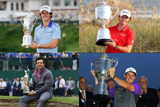 2019年 マスターズ 事前 ロリー・マキロイ マキロイはメジャー4勝。上段左から2011年全米オープン、2012年全米プロ。下段左から2014年全英オープン、同年全米プロ