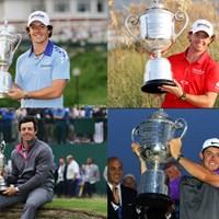 マキロイはメジャー4勝。上段左から2011年全米オープン、2012年全米プロ。下段左から2014年全英オープン、同年全米プロ 2019年 マスターズ 事前 ロリー・マキロイ