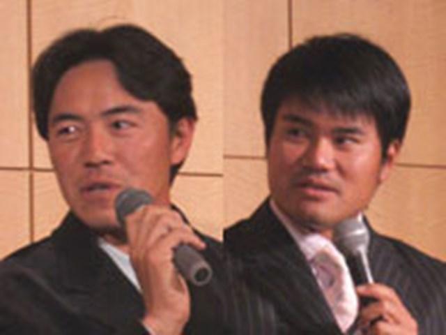来シーズン、最終日最終組で周り、2人で優勝争いをしますと宣言した横尾要(左)と、宮里優作(右)