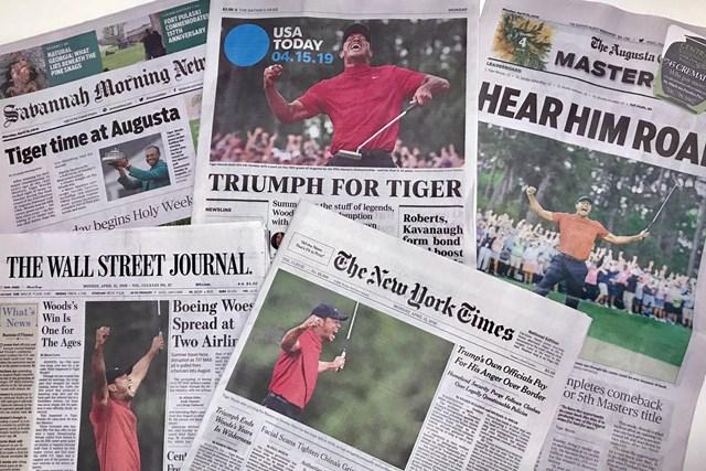 マスターズ翌日の米国の紙面はタイガー・ウッズの話題で埋め尽くされた