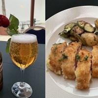 ビールとチキンカツレツ。おそるおそる…でしたが、おいしかった! 2019年 ハッサンIIトロフィー 事前 モロッコのディナー