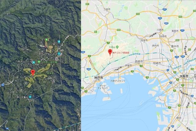 神戸ゴルフ倶楽部は神戸市灘区の六甲山の中に。山道を上るのはホントに大変 ※画像はGoogleマップから