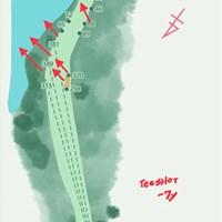 ティショットは約7ydの打ち下ろし。全体傾斜は池に向かって下っていく 2019年 ウェルズファーゴ選手権 事前 クエイルホロークラブ16番ホール