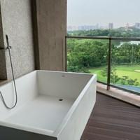 今週のホテルはゴルフ場のすぐそば。お風呂が外にあります 2019年 ボルボ中国オープン 事前 中国のホテル