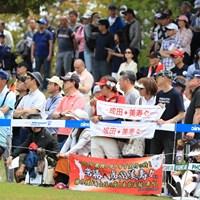 なんてたって地元、成田美寿々の応援、家も近い 2019年 パナソニックオープンレディースゴルフトーナメント 初日 応援旗