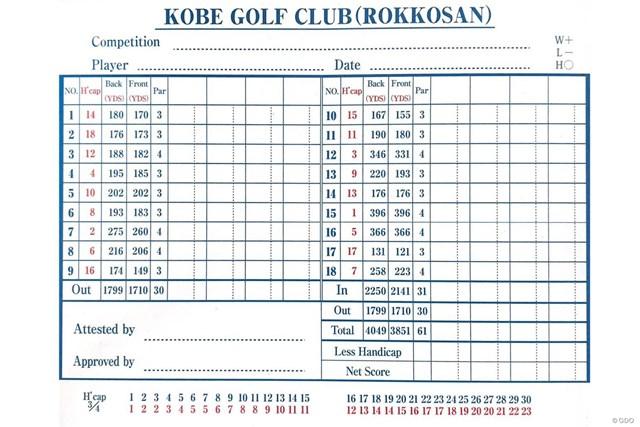 神戸ゴルフ倶楽部のスコアカード