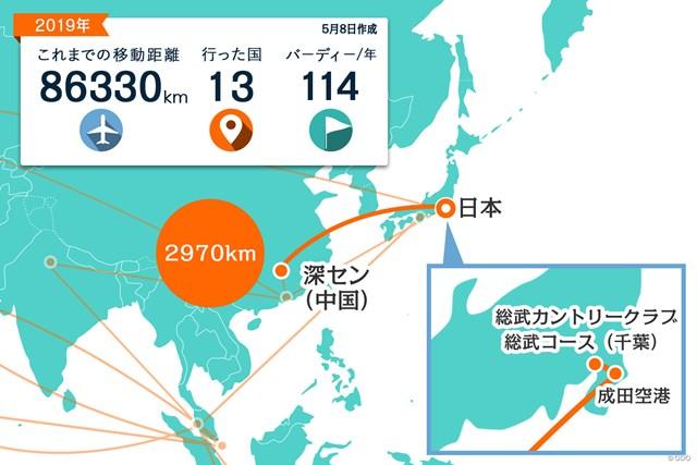 2019年 アジアパシフィックオープン選手権ダイヤモンドカップゴルフ 事前 川村昌弘マップ 中国からは直行便で日本に帰国。今年初めて国内の試合に出場します