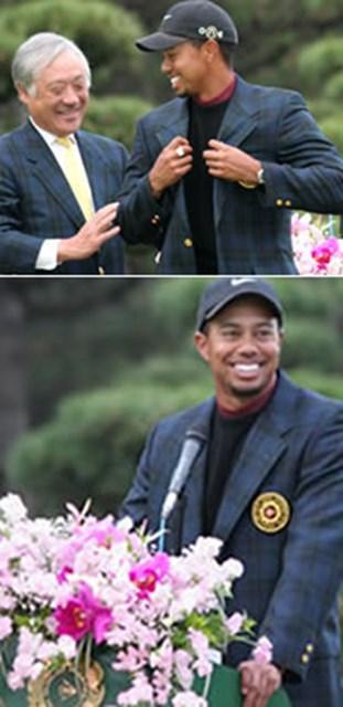 上:苦闘の末に2年連続でチャンピオンブレザーを纏う 下:最後に「また来年、ぜひここでお会いしましょう」と締めくくったタイガー・ウッズ