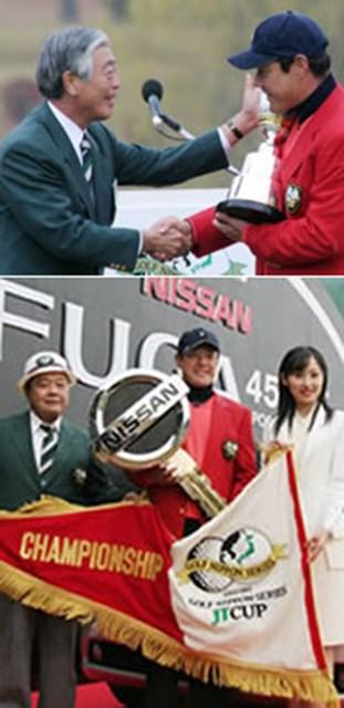 2005年 プレーヤーズラウンジ 今野康晴 今季2勝目、大会前から目標にしていた獲得賞金1億円を突破した。年間パーオン率で1位に輝き、「ツアー屈指のスインガー」となった今野康晴