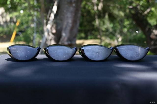 キャロウェイ エピックフラッシュ サブゼロ ドライバー サブゼロシリーズの1W。左からノーマル、シングルダイヤ、ダブルダイヤ、トリプルダイヤ