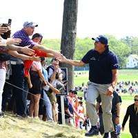 ニューヨーカーにもやたら人気が高い。いつだったか、ヤンキース柄のパンツを履いてきてたっけ 2019年 全米プロゴルフ選手権 2日目 フィル・ミケルソン