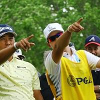 「あそこだな?(松)」「そうです(キャ)」「違う、そこじゃない(右端の人)」 2019年 全米プロゴルフ選手権 最終日 松山英樹
