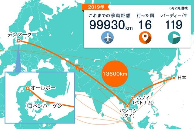 東南アジアを経由して北欧へ。コペンハーゲンからオールボーは車を運転してきました