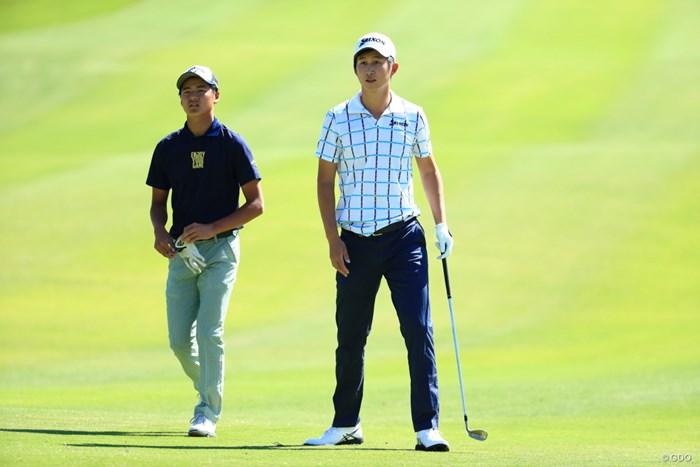 ツアーで初のアンダーパーで終えた石川航(左)。同組の星野陸也も絶好のスタート 2019年 関西オープンゴルフ選手権競技  初日 石川航(左)&星野陸也