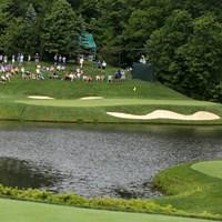 池越えのショートホールはグリーンが横長の形状。トラブルを避けたい 2019年 ザ・メモリアルトーナメント 事前 ミュアフィールドビレッジGC12番ホール