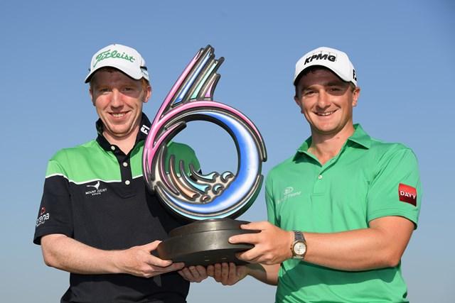 2018年 ゴルフシックス 最終日 アイルランドチーム 前年大会はアイルランドコンビが初制覇(Ross Kinnaird/Getty Images)