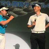 大会開催を発表する丸山大輔(左)と小林正則 丸山大輔と小林正則