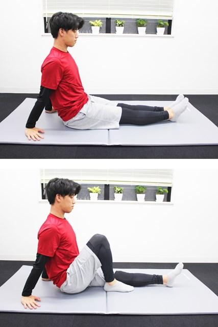 両ひざを伸ばして座り、踵(かかと)をお尻の方へ引き寄せたとき