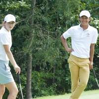 ウェイクフォレスト大の青島賢吾と、PGAツアーでも活躍するライアンの妹、ガビー・ラッフルズ 2019年 アーノルド・パマーカップ 事前 青島賢吾とガビー・ラッフルズ