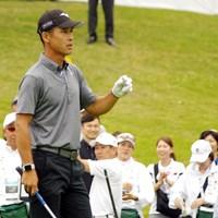 「ゴルフはすごい楽しい。恥をかいても勝負はしたい」と挑戦する姿を見せる長谷川滋利 2019年 マスターカード日本選手権 初日 長谷川滋利