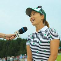 終始笑顔でインタビュー。 2019年 ヨネックスレディスゴルフトーナメント 最終日 上田桃子