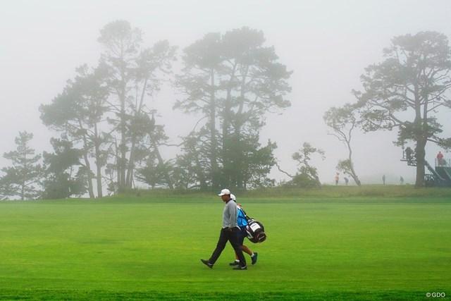 2019年 全米オープン 事前 松山英樹 開幕前日の松山英樹は霧の中で練習ラウンドを行った