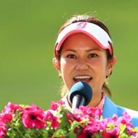 ピン位置を設定した大会アンバサダーの宮里藍さん 2019年 宮里藍サントリーレディスオープンゴルフトーナメント  最終日 宮里藍さん