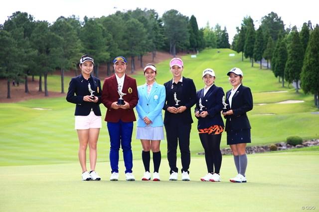 2019年 宮里藍サントリーレディスオープンゴルフトーナメント 最終日 宮里藍 宮里藍さん(左から3人目)とアマチュア選手たち