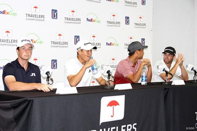 2019年 トラベラーズ選手権 事前 共同会見 会見に臨んだ4人の選手たち。将来有望な若手がズラリとそろった