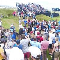 ギャラリーが詰めかける中、ウッズ、ファウラーらが練習ラウンドを行った 2019年 「全英オープン」 事前 タイガー・ウッズ
