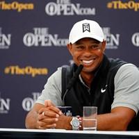 会見で時折笑顔を見せたウッズ(Kevin C. Cox/Getty Images) 2019年 全英オープン 事前 タイガー・ウッズ