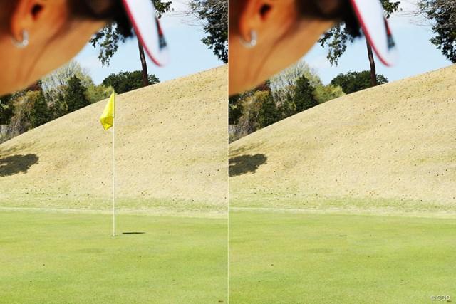 同じ距離でのピンあり(画像左)・なし(右)の視点の違い