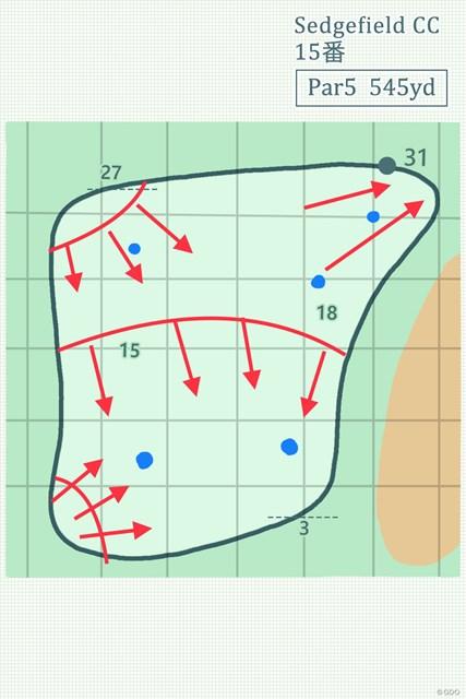 2019年 ウィンダム選手権 事前 セッジフィールドCC15番グリーン グリーンはほぼ四角形。左サイドの池に向かっている。青印は予想ピンプレース