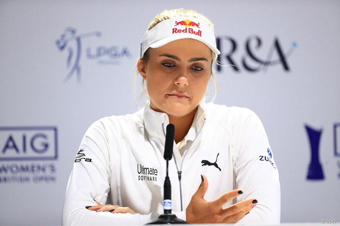 謝罪会見となったトンプソン。記者たちからは質問が相次いだ 2019年 AIG全英女子オープン 事前 レキシー・トンプソン
