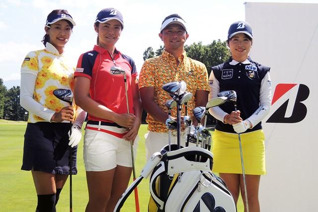 新JGRのイベントに参加した(左から)川崎志穂、渡邉彩香、片岡大育、三ヶ島かな