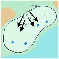 グリーンは奥から手前の池に向かって傾斜が強い。青印は予想ピンプレース 2019年 BMW選手権 事前 メダイナCC17番グリーン