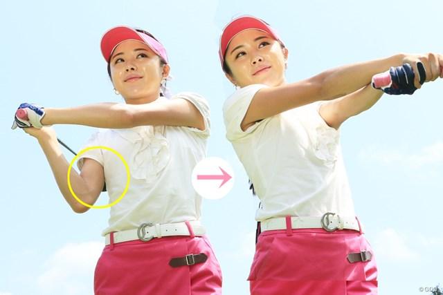 """""""野球打ち""""はゴルフではNGとされているが、右わきを締めすぎない例としてあえて挙げた野田"""