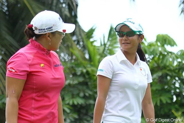 2010年 HSBC女子チャンピオンズ初日 宮里藍、申智愛 宮里と申智愛、それにオチョアを加えた3人が同組となった大会初日