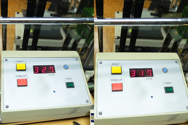 SR(左)の振動数が327cpm、R(右)が317cpmと、どちらもかなりしっかりめの設定