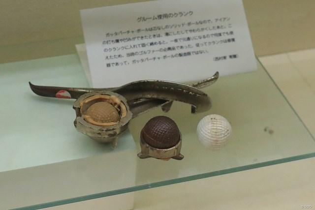 ガッタパーチャ・ボールをつくるクランク(型)。樹液が原料だったボールは形が崩れても再生可能だった