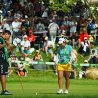 最終18番、バーディならず。プレーオフに持ち込めなかった。 2019年 ゴルフ5レディス プロゴルフトーナメント 最終日 浅井咲希