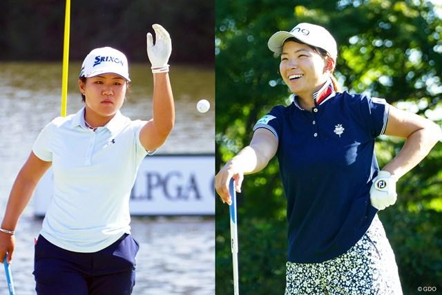 今季国内ツアーで初めて共演する渋野日向子(右)と畑岡奈紗(左)