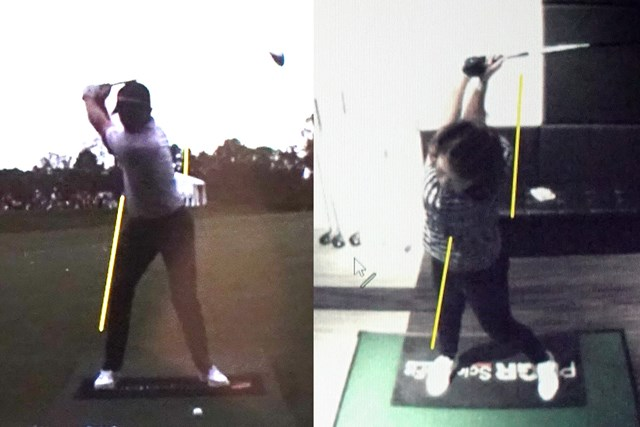 プロ(左)のトップと比較すると腰が右へ流れています