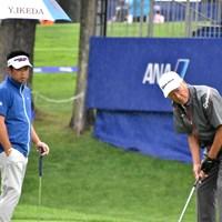 日本ゴルフツアー機構(JGTO)の青木功会長(右)とプレーした池田勇太 2019年 ANAオープンゴルフトーナメント 事前 池田勇太