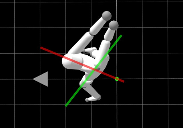 渋野日向子 CG 頭上からみると、トップで腰(緑ライン)と肩(赤ライン)に大きな捻転差ができている