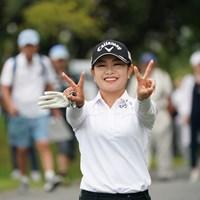 イエ~イ、Wピース 2019年 日本女子プロ選手権大会コニカミノルタ杯 2日目 河本結