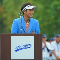 2度目は笑顔の優勝スピーチ。 2019年 ANAオープンゴルフトーナメント 最終日 浅地洋佑
